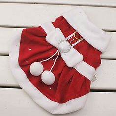 Cat / Dog Costume / Dress Red Dog Clothes Winter Bowknot Cosplay / Christmas / New Year's - USD $ 12.99