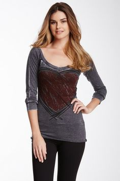 Deep Scoop Neck Long Sleeve Tee by Go Couture on @HauteLook