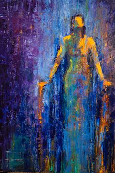 abstract figurative, blue, water, colorful,