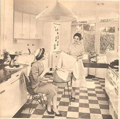 Housewives of the 1950s. Ugh- look at those heels. Working in the kitchen in heels. Yikes!
