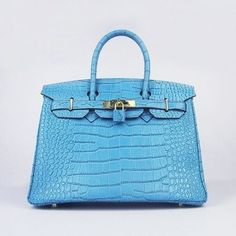 Hermes Birkin 30CM Big Blue Bag Crocodile Gold Hardware