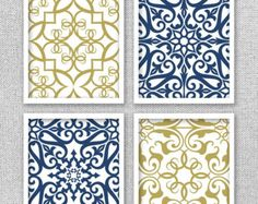 Artículos similares a Arte azul marino, azul arte de la pared blanca, decoración para el hogar, Set de 6-8 x 10 impresiones, salón arte, arte de dormitorio, comedor arte, Marina de guerra y blanco en Etsy