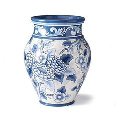 Blue and White Painted Planter