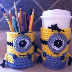 Minion Cup Cozy crocheted by icrochetthereforeiam on Etsy, $12.99