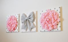 """Pink, White & Gray Wall Decor - Baby Nursery Wall Art - Flowers and Gray Bow on Polka Dot 12 x 12"""" Canvases Wall Art by bedbuggs on Etsy https://www.etsy.com/listing/214343428/pink-white-gray-wall-decor-baby-nursery"""