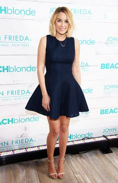 Lauren Conrad looks like perfection in a chic flared skirt and nude sandals