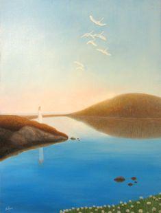 """""""Ikijärvellä"""".  Akryyli pellavakankaalle / Acrylics on a linen canvas, 80 x 60 cm, 2017"""