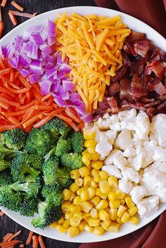Creamy Broccoli, Cauliflower, Corn, Bacon Salad with Carrots, Cheddar Cheese and Red Onions Vegetable Salad Recipes, Best Salad Recipes, Salad Dressing Recipes, Vegetarian Recipes, Healthy Recipes, Broccoli Cauliflower Salad, Cauliflower Recipes, Savory Salads, Healthy Salads