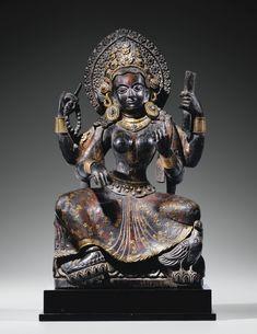 尼泊爾 十七世紀 木雕加銅妙音天女坐像 | Lot | Sotheby's