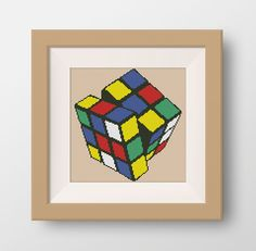 Rubik's Cube Cross Stitch Pattern, PDF counted cross stitch pattern, cube cross stitch pattern, P014 by NataliNeedlework on Etsy