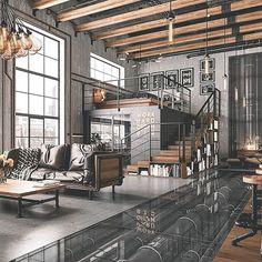 Industrial Interior Design, Industrial House, Home Interior Design, Interior Architecture, Industrial Style, Industrial Architecture, Urban Industrial, Industrial Interiors, Interior Livingroom