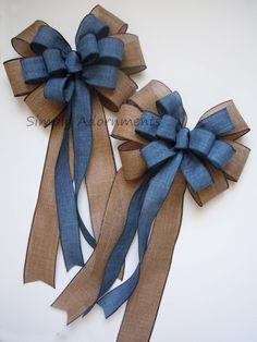 Diy Bow, Diy Ribbon, Ribbon Crafts, Ribbon Bows, Ribbons, Wedding Chair Bows, Wedding Bows, Navy Burlap Wedding, Denim Wedding