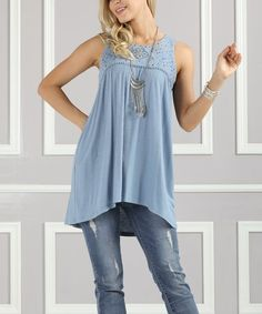 Love this Blue Embroidered Hi-Low Tunic - Plus Too by Suzanne Betro on #zulily! #zulilyfinds