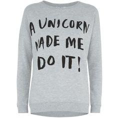 Grey A Unicorn Made Me Do It Sweater ($13) ❤ liked on Polyvore featuring tops, shirts, sweaters, sweatshirts, gray shirt, pattern long sleeve shirt, grey top, grey shirt and gray long sleeve shirt
