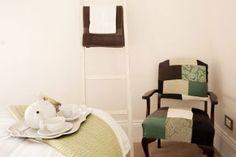 Bedroom/Sitting Room - The Block 2012 - Brad and Lara's guest bedroom and powder room, love the chair