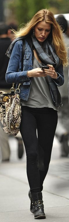 Great transitional outfit! Drapey tee + denim jacket + slim black pants + short boots + plaid scarf.