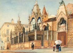 The Tombs Of Can Grande Della Scala, Verona  by Jessie Wilcox-Smith (American 1863-1935)
