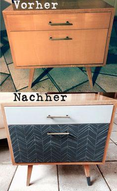 Aus Alt mach Neu. Möbel aufpimpen mit nichts weiter als etwas Farbe. Aus einem alten Nachttsichschrank der 70er Jahre habe ich mit etwas Acrylfarbe und PolychromosStiften einen modernen geometrischen Beistelltisch entworfen.