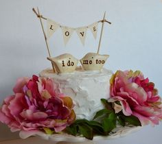 Wedding cake topper and L O V E banner...package deal by SkyeArt, $44.00
