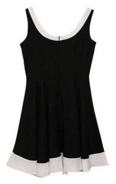 Black Sleeveless Contrast Trims Chiffon Dress - Sheinside.com #SheInside