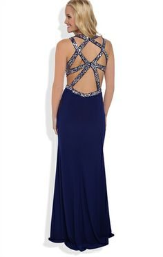 Long Prom Dress with Decorative Sequin Open Back and Side Slit DEB