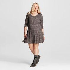 Women's Plus Size Long Sleeve Swing Dress - Mossimo Supply Co. ™ (Juniors')