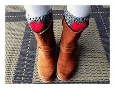 Grey  crocheted boot cuff leg warmers with by theprimitivefence