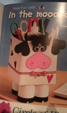 Made with a tissue box and 2 toilet paper rolls and construction paper.  Could probably make a pig too.