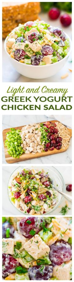 Skinny Greek Yogurt Chicken Salad with Grapes, Celery, and Fresh Dill. Creamy, cool, and crunchy! A quick, easy, healthy recipe that's perfect for sandwiches and salads. Omit honey for the 21 Day Fix diet - Recipe at http://wellplated.com | /wellplated/