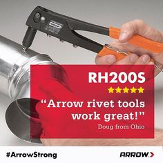 """""""Arrow rivet tools work great. I have used them for years. … They are inexpensive and they get the job done."""" Doug from Ohio shares his thoughts on our #ArrowStrong rivet tools. Are you ready to be riveting? www.arrowfastener.com"""