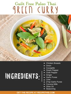 30 Minute Meals | guilt free Paleo Thai green curry from RecipeThis.com