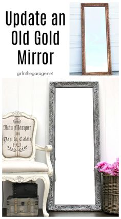 Learn how painting a mirror frame with Chalk Paint can give you a beautiful new look on a budget. See how two vintage mirrors were updated easily! DIY makeover ideas by Girl in the Garage Gold Framed Mirror, Diy Mirror, Mirror Ideas, Ornate Mirror, Chalk Paint Mirror, Mirror Painting, Recycled Furniture, Painted Furniture, Refinished Furniture