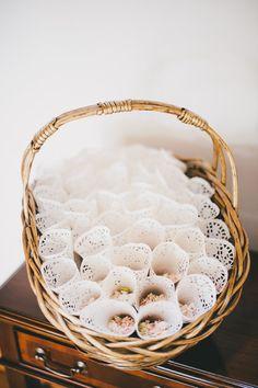 confetti cones wedding decor flower petals lace by YarnandIvory