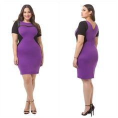 """Eloquii Game Changer Bodycon Dress Ponte knit dress with scoop neck and v-back, stretch knit fabric, short sleeves, mesh and faux leather accents, concealed back zip. Shoulder to hem: 40"""" Eloquii Dresses"""