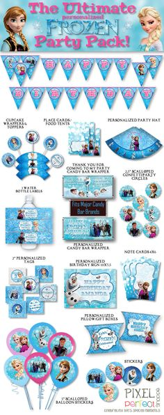 PERSONALIZED Frozen Party Pack, Frozen Party Supplies, Disney Frozen Party, Frozen Birthday, Disney Birthday, Frozen Birthday Party, Frozen on Etsy, $35.00