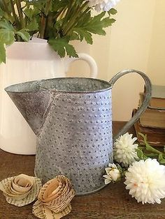 Sweet Little Metal Pitcher Watering CAN Vase Zinc JUG Provincial Shabby Chic | eBay