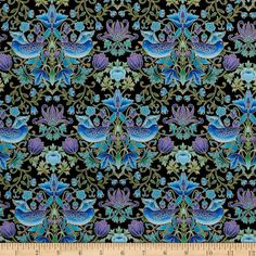 Tree of Life Metallic Eden Birds and Flowers Black from @fabricdotcom  Designed by Chong-A Hwang for Timeless Treasures, this cotton print collection is perfect for quilting, craft projects, apparel and home décor accents. Colors include shades of blue, purple, and green on a black background. Features gold metallic accents throughout.