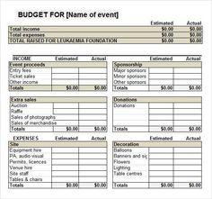 Fundraiser Event Budget Template Http Templatedocs Spreadsheet