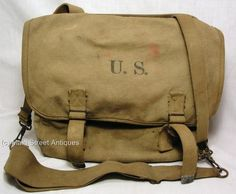 WWII U.S. Army M1936 Canvas Musette Bag  Olive Drab  Dated 1942   Bradford & Co