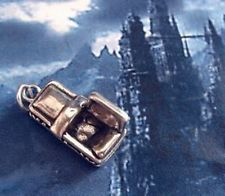 LOOK DRACULAS COFFIN Sterling Silver Pendant charm Halloween