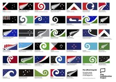 The long list of 40 designs, submitted as alternatives to New Zealand's current national flag (all images via www.govt.nz)