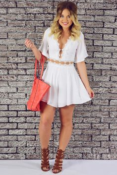 When I'm Gone Romper: White #shophopes