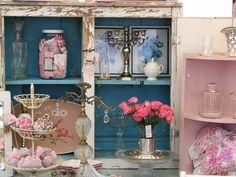 Repurposed Kitchen Cupboard turned antique show display | beautiful display at John Bob Cool Junk booth.