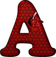 Alfabeto Decorativo: Alfabeto - Homem Aranha 01 - PNG - Letras - Maiúsc...