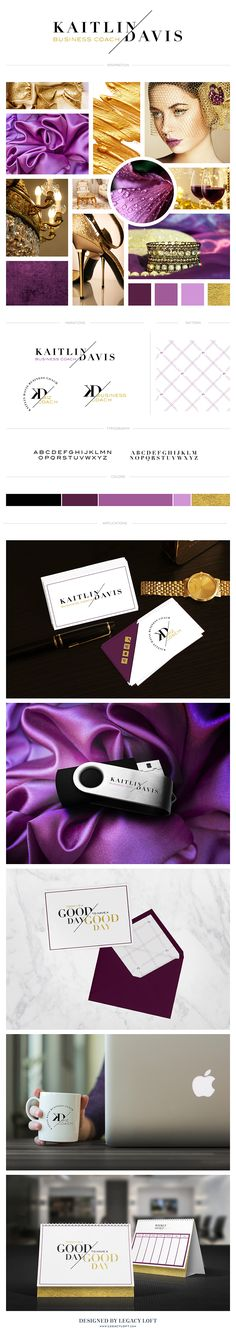 Brand design for Kaitlin Davis business coach for entrepreneurs. Classy, luxury feel with gold and purple for a high end audience. By Lauren Black of Legacy Loft. www.legacyloft.com