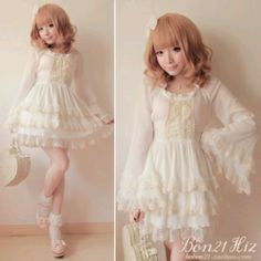 Cute, sweet gyaru: White, layered, lace, a-line dress with withe lace details and lacing. White socks with lace details. Pink heels with bow. Kawaii Fashion, Lolita Fashion, Cute Fashion, Kawaii Dress, Kawaii Clothes, Japanese Fashion, Asian Fashion, Pretty Outfits, Cute Outfits