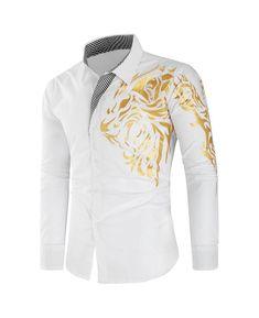 Dragon Print Plaid Patchwork Slim Fit Shirt - White - - Men's Clothing, Men's Tops & T-Shirts, Men's Shirts # # Style Casual, Casual Tops, Casual Shirts, Comfy Casual, Men Casual, Robes Vintage, Vintage Shirts, Mens Shirts Online, Men Online