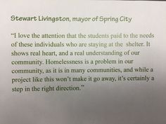 Mayor comments on students' efforts.