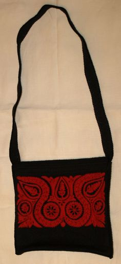 Traditional Hungarian Felt Overlay Bag made in by TheMightyCat Hungarian Embroidery, Hungary, Bag Making, Overlays, Reusable Tote Bags, Felt, Traditional, How To Make, Handmade
