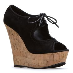 a lace-up wedge